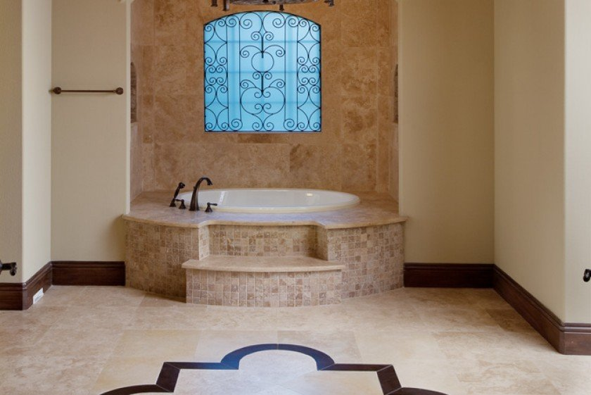 interior luxury home bathroom tub master bath wrought iron