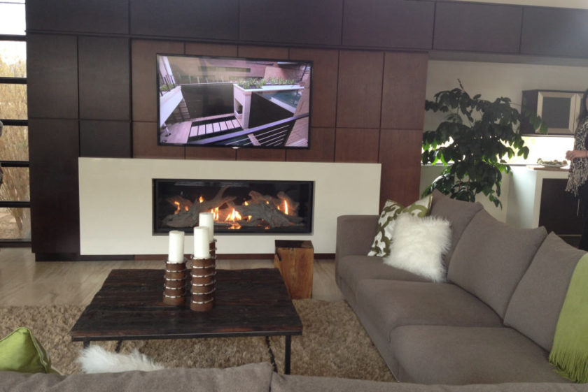 interior luxury home fireplace tv