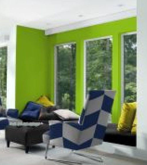 interior luxury home patio lime green