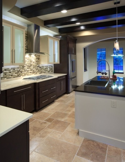 Glass tile backsplash in a Modern-Mediterranean Kitchen designed and built by Orlando Custom Builder Jorge Ulibarri