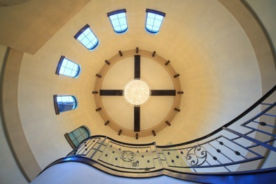Ceiling view of tower entry on home designed and built by Orlando Custom Builder Jorge Ulibarri