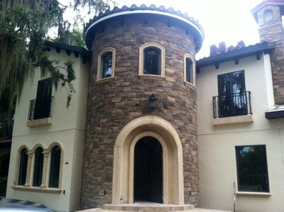 Tower Entry on a home on Park Ave in Winter Park, Florida designed and built by  Orlando Custom Builder Jorge Ulibarri