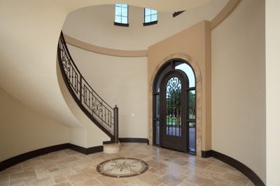 Modern-Mediterranean foyer designed and built by Orlando Custom Builder Jorge Ulibarri
