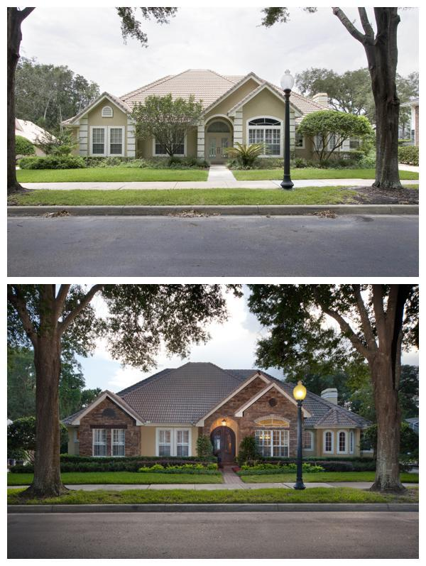 The before and after picture of the facade of a 1989 home that Orlando Custom Home Builder Jorge Ulibarri remodeled into a stunning custom Tuscan residence located in the gated community of Heathrow, Florida. For more information, go to www.imyourbuilder.com