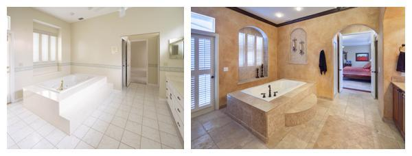 The before and after of the master bath in the remodel of a 1989 home by Orlando Custom Home Builder Jorge Ulibarri www.imyourbuilder.com
