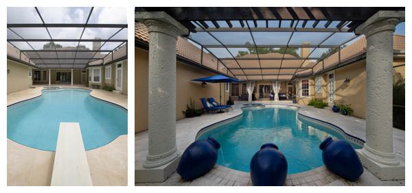 The before and after pictures of the outdated swimming pool transformed into a resort-style retreat in a 1989 home remodeled by Orlando Custom Home Builder Jorge Ulibarri www.imyourbuilder.com