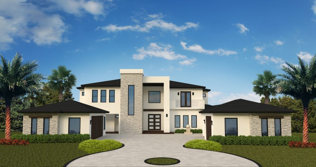 Rendering of Contemporary custom home under construction by Orlando Custom Home Builder Jorge Ulibarri on Markham Woods Road in Lake Mary, Florida