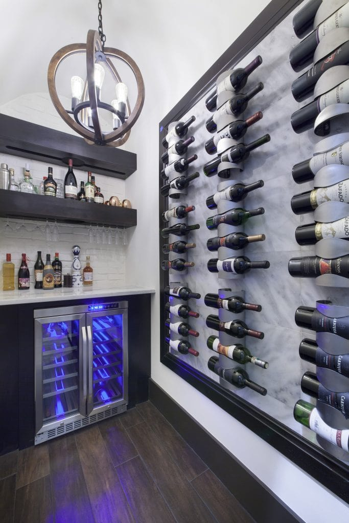 Wine Cellar designed and built by Orlando Custom Home Builder Jorge Ulibarri, owner of Cornerstone Custom Construction in modern custom home.
