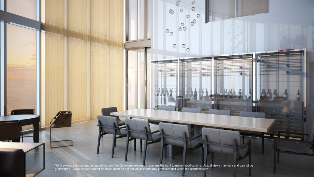 Rendering of a glass wine room visible from the dining area.