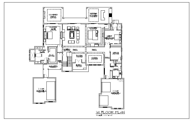 First floor architectural floorplan for Florida Contemporary Home designed and under construction by Orlando Custom Home Builder Jorge Ulibarri