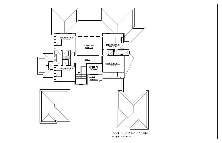 Second floor architectural floorplan for Florida Contemporary Home designed and under construction by Orlando Custom Home Builder Jorge Ulibarri