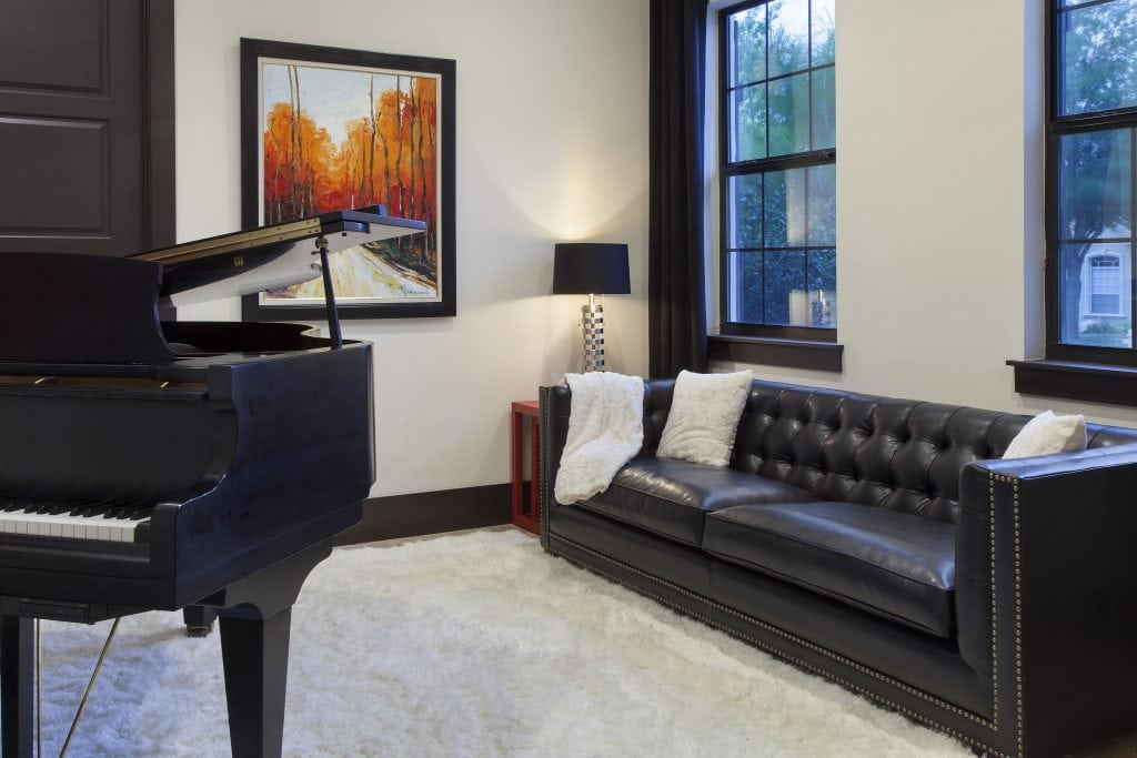 Piano room in Villa Sirena, a home by Orlando Custom Home Builder Jorge Ulibarri. Decor by Karen LeBlanc
