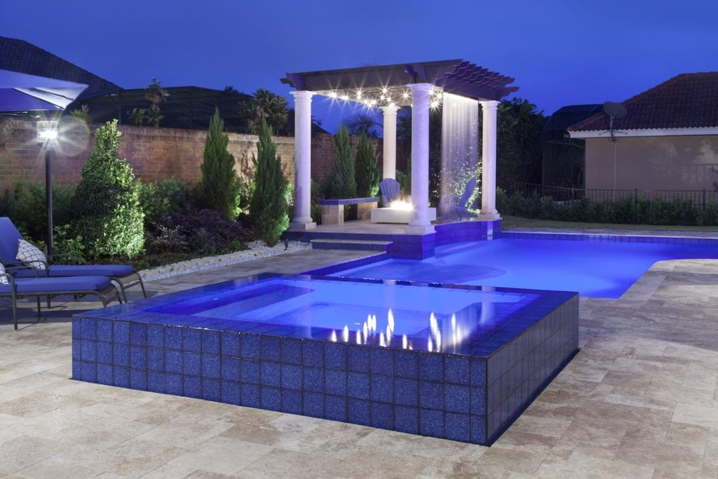Contemporary pool designed by Orlando Custom Home Builder Jorge Ulibarri in a custom home he designed and built in Heathrow