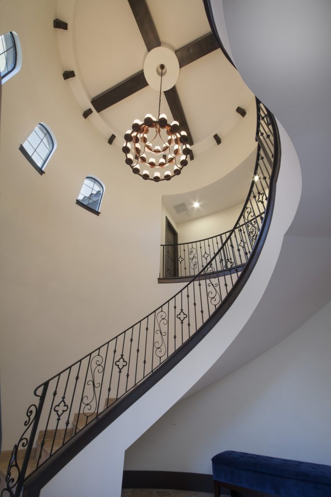 The Tower Entry of Villa Sirena, an Orlando Custom Home is a blend of Spanish Mission Architecture and Contemporary design elements by Orlando Custom Home Builder Jorge Ulibarri of Cornerstone Custom Construction