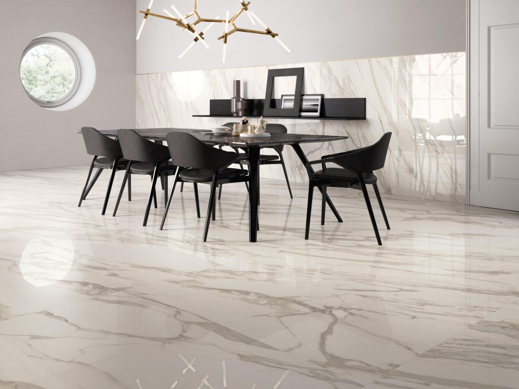Orlando Custom Home Builder Jorge Ulibarri shares flooring tips for various stone and ceramic tile choices including Purity by Supergres Large format ceramic tile that mimics marble. Photo credit: Cersaie