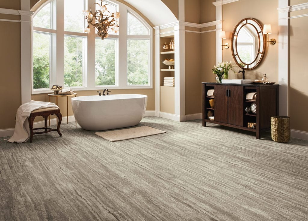 Armstrong Flooring's new Vivero Collection with Diamond 10 Technology pictured here in Antiquity that mimics vintage wood