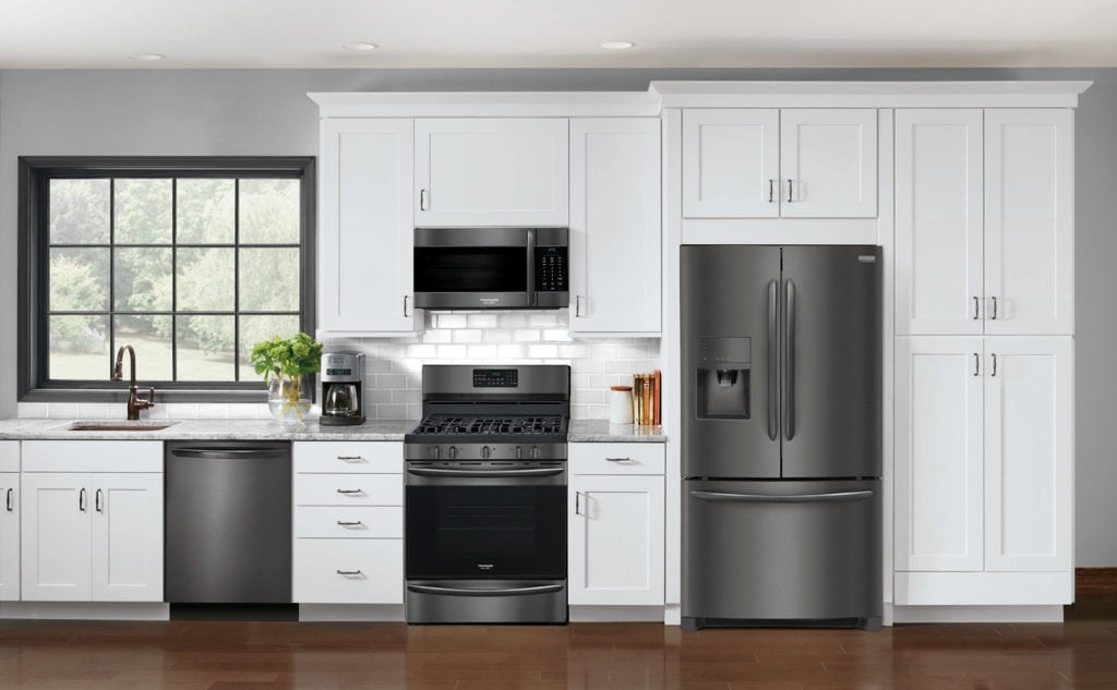 Black stainless steel collection of appliances recently launched by Frigidaire Gallery, debuted at KBIS 2017