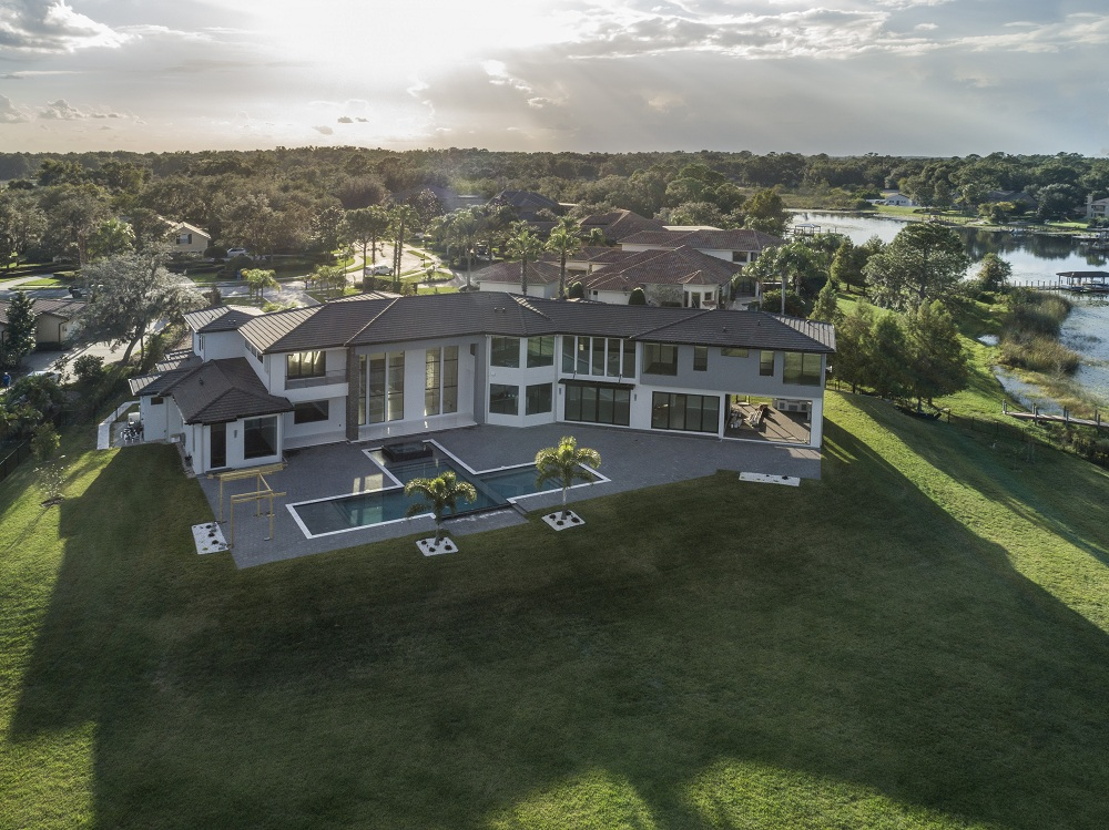 exterior luxury home Modern Homes aerial
