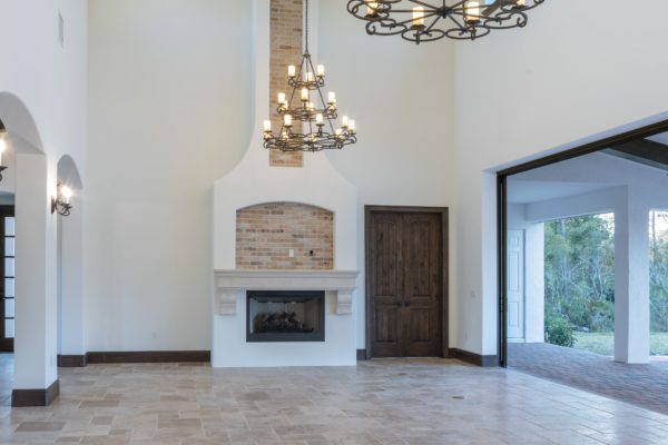 interior luxury home fireplace