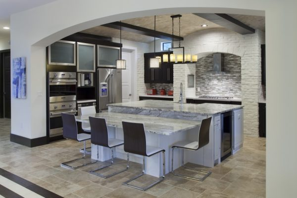 interior luxury home kitchen island stove