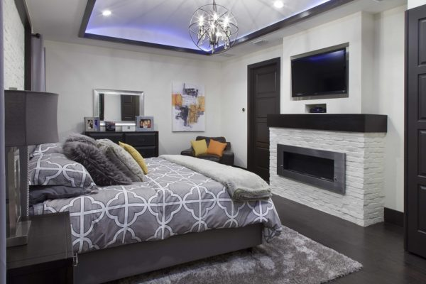 interior luxury home bedroom, fireplace