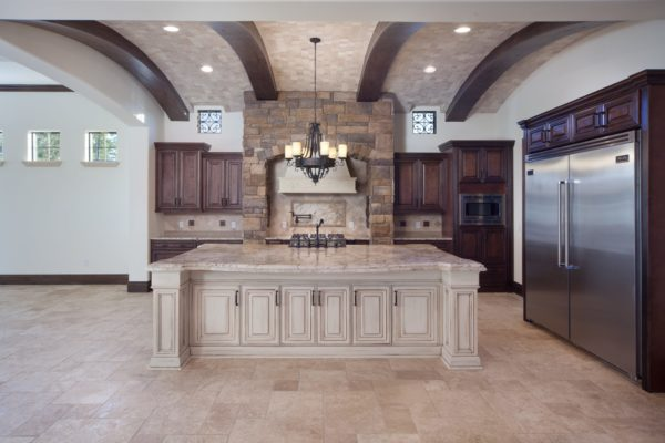 interior luxury home kitchen island refrigerator