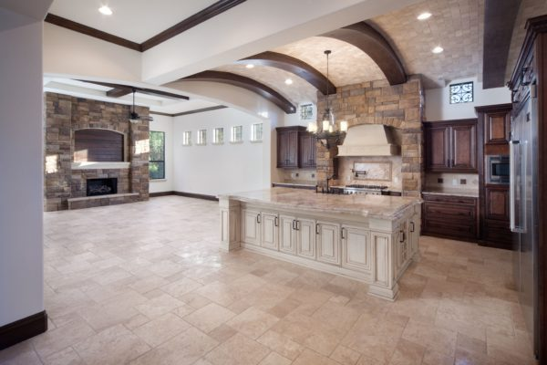 interior luxury home kitchen island oven, fireplace