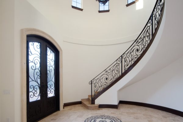 interior luxury home foyer, staircase