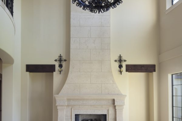 interior luxury home fireplace, chandelier