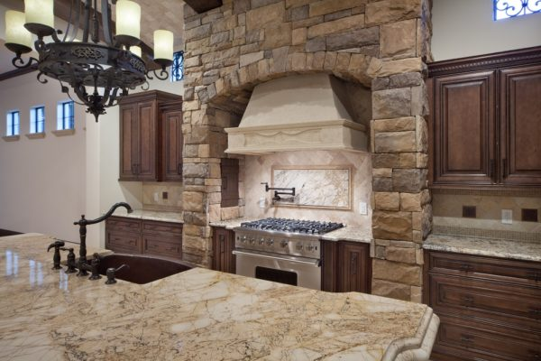 interior luxury home kitchen island oven