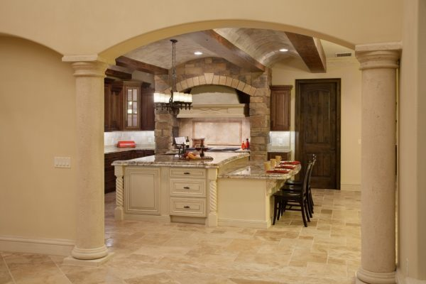interior luxury home kitchen island ,oven, arch