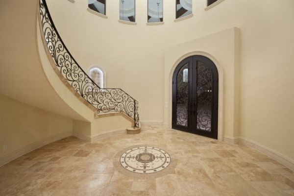 interior luxury home stairs, front door