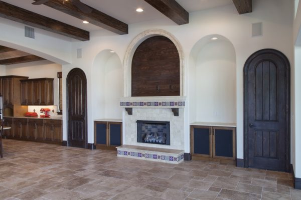 interior of luxury home, fireplace