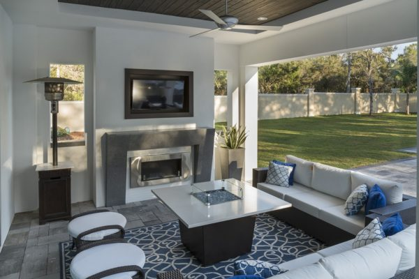 interior luxury home patio tv fire