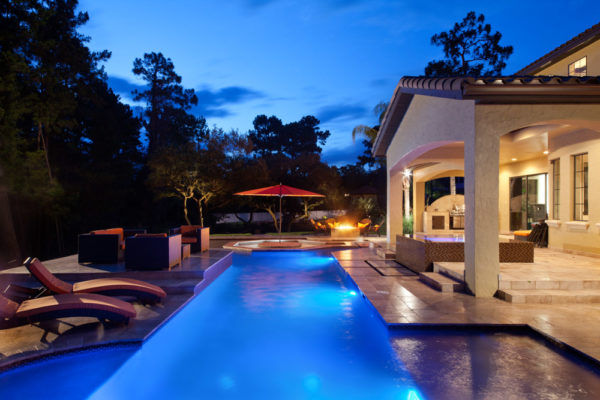 exterior luxury home pool, firepit