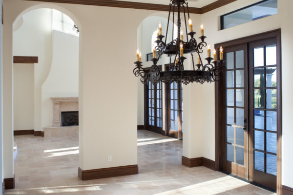 interior luxury home vestibule, chandelier