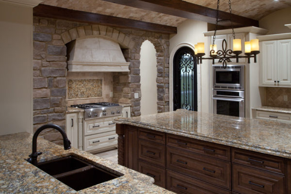 interior luxury home kitchen sink, stove
