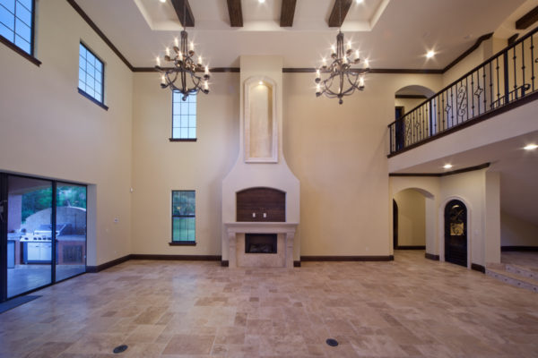 interior luxury home fireplace, patio
