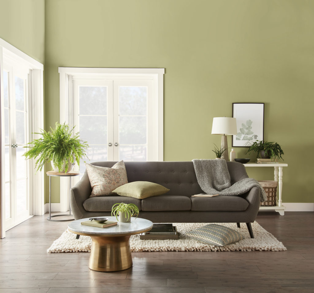 Family room painted in Behr paint's Back to Nature, 2020 Color of the Year.