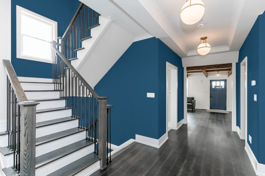 Hallway painted with PPG Chinese Porcelain, 2020 Color of the Year.