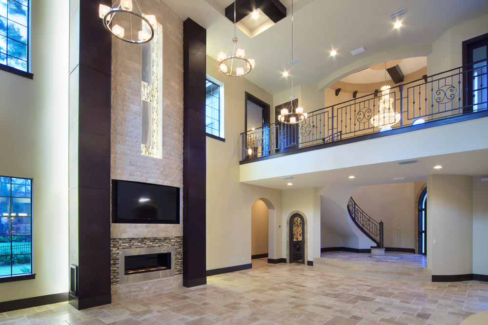 Great room and foyer in this custom home by Orlando Custom Home Builder Jorge Ulibarri